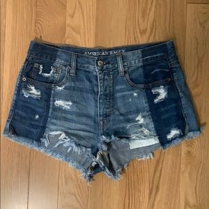 American Eagle Outfitters Shorts - AE Ripped Two-tone Jean Shorts